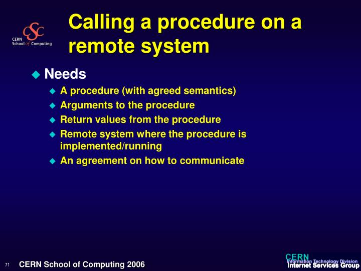 Calling a procedure on a remote system