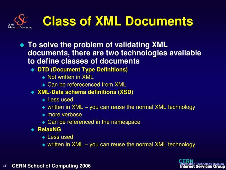 Class of XML Documents
