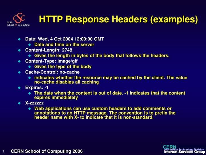 HTTP Response Headers (examples)