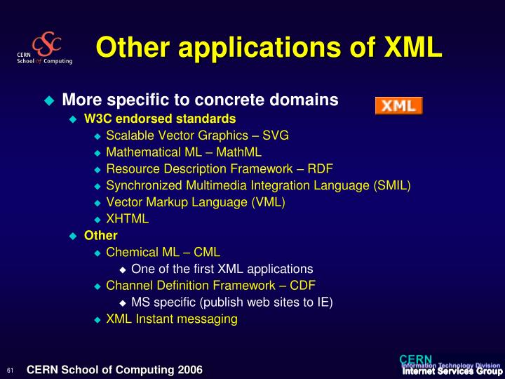 Other applications of XML
