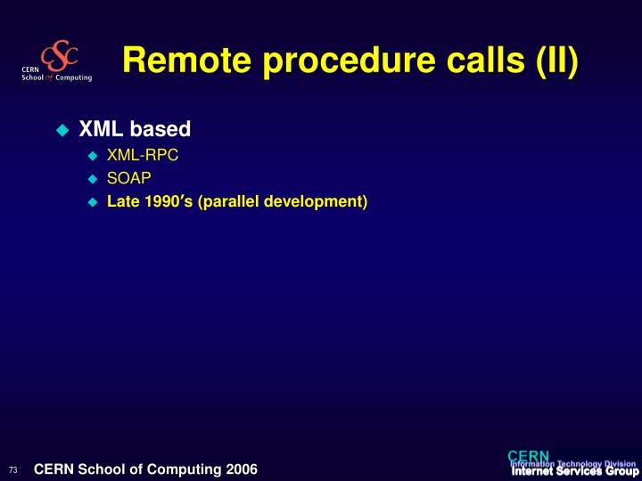 Remote procedure calls (II)