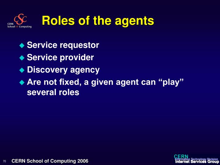 Roles of the agents