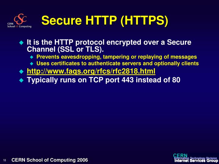 Secure HTTP (HTTPS)