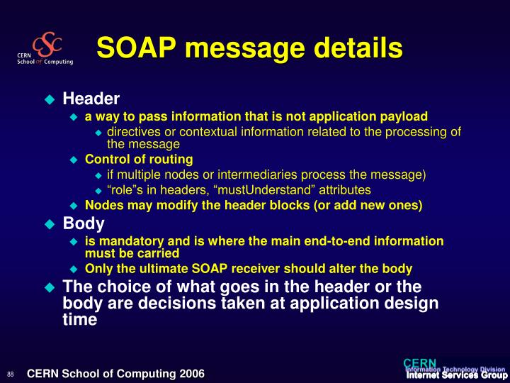 SOAP message details
