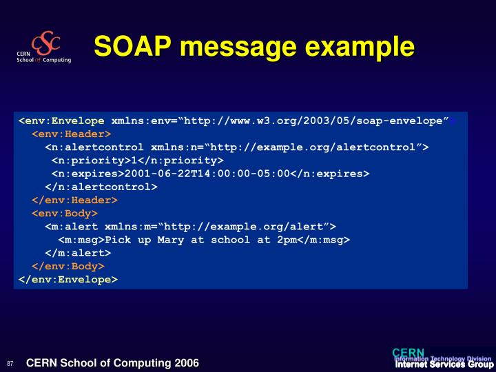 SOAP message example