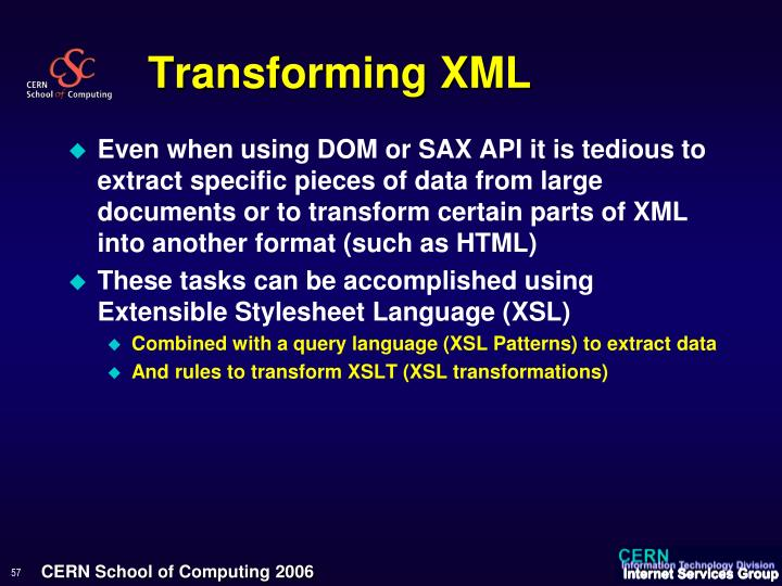 Transforming XML