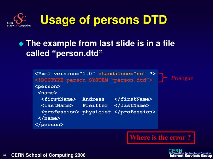 Usage of persons DTD
