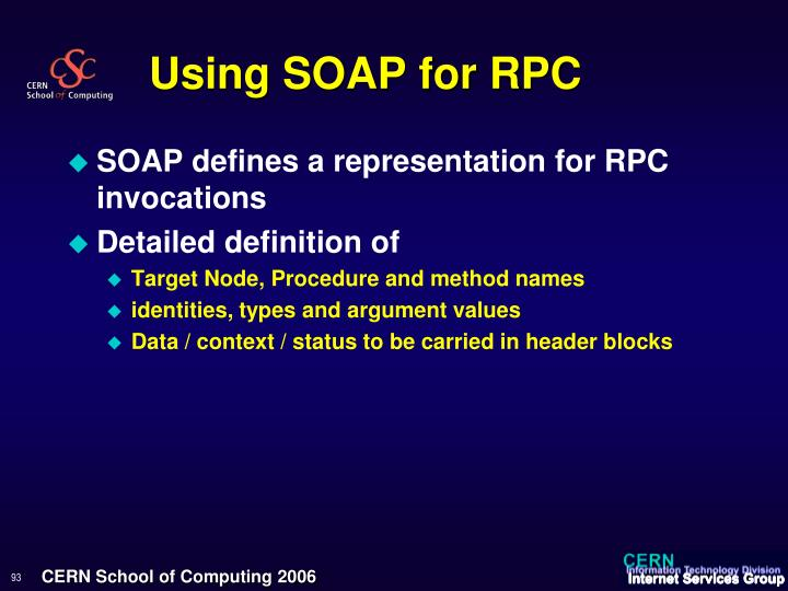 Using SOAP for RPC