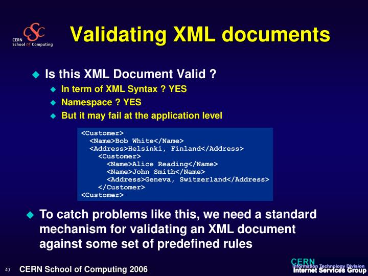 Validating XML documents