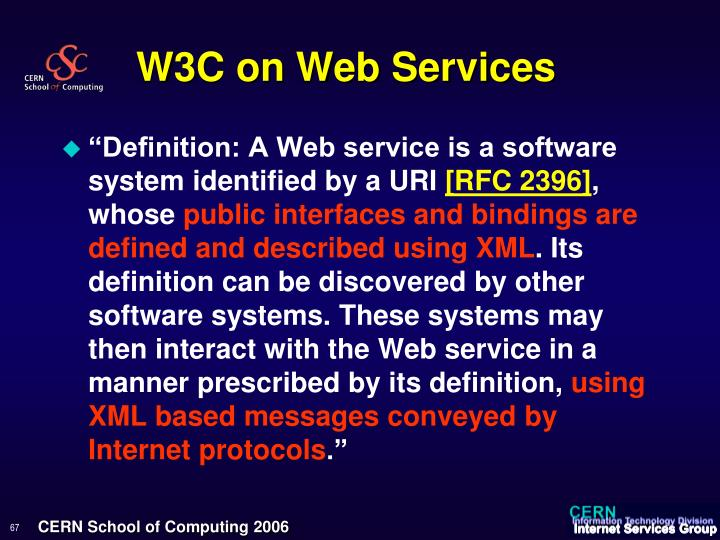 W3C on Web Services