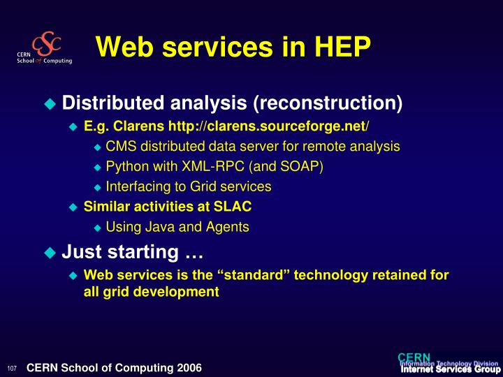 Web services in HEP