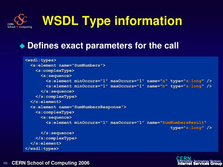 WSDL Type information