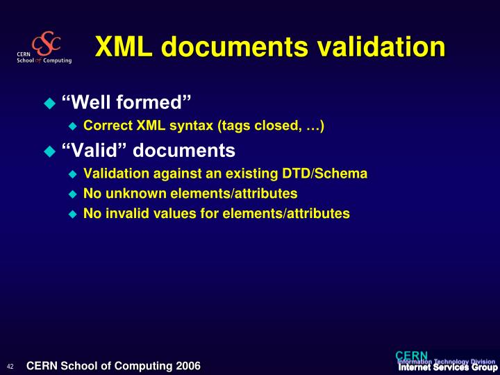 XML documents validation