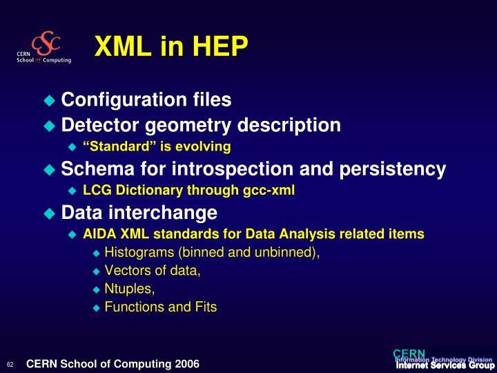 XML in HEP