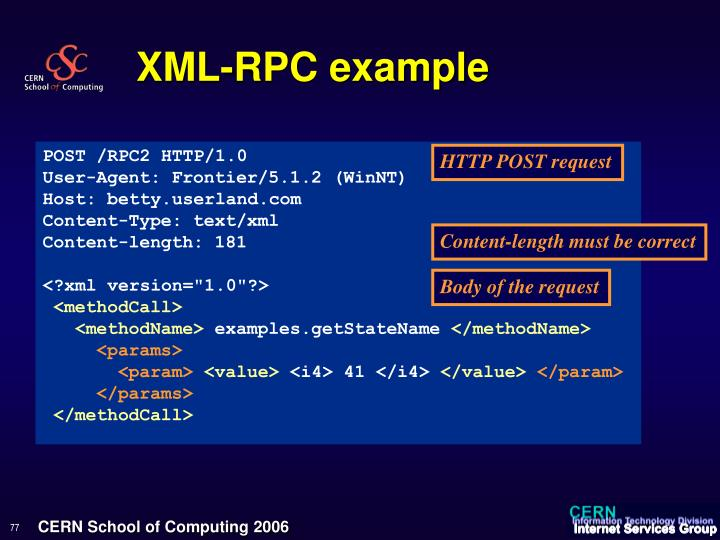 XML-RPC example