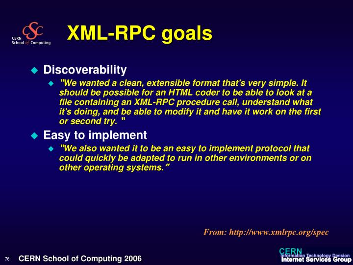 XML-RPC goals