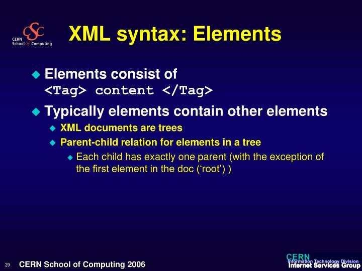 XML syntax: Elements