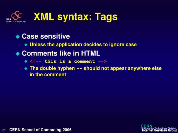 XML syntax: Tags