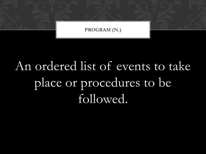 Program (n.)
