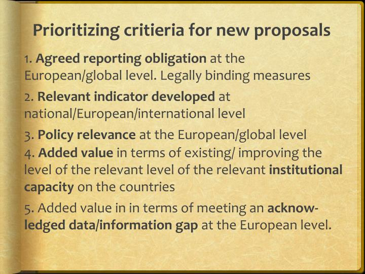 Prioritizing critieria for new proposals