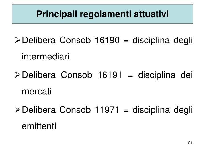 Principali regolamenti attuativi