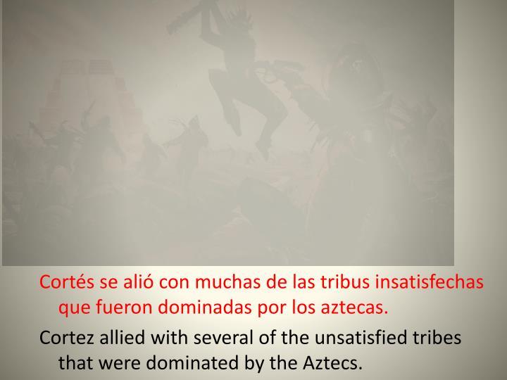 Cortés se alió con muchas de las tribus insatisfechas que fueron dominadas por los aztecas.