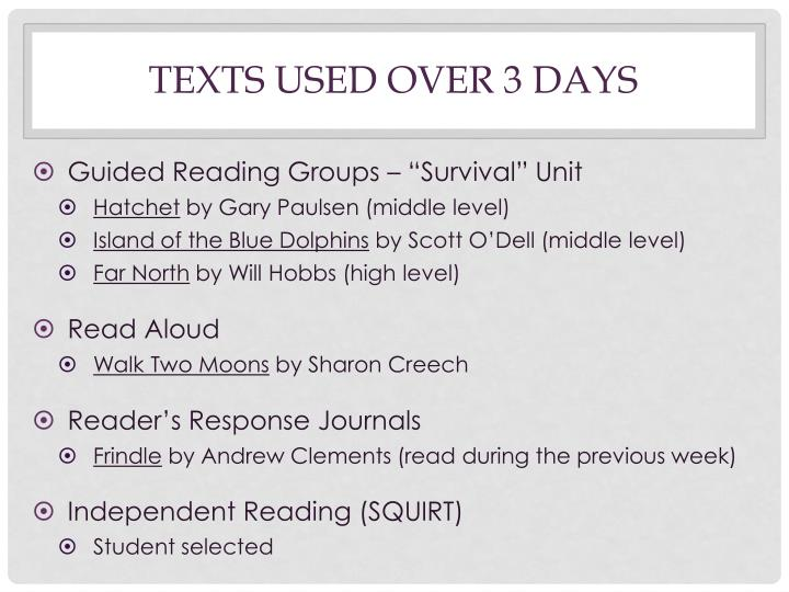 TEXTS USED OVER 3 DAYS