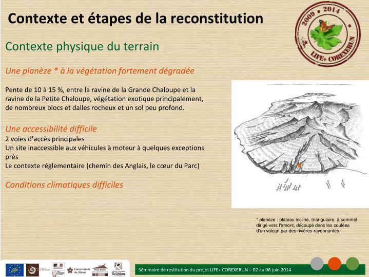 Contexte et étapes de la reconstitution