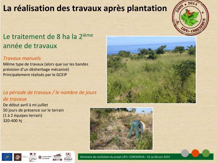La réalisation des travaux après plantation