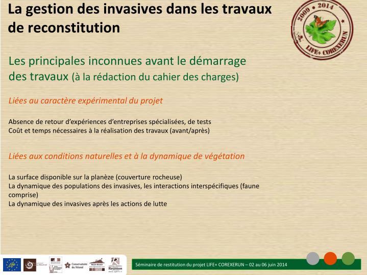 La gestion des invasives