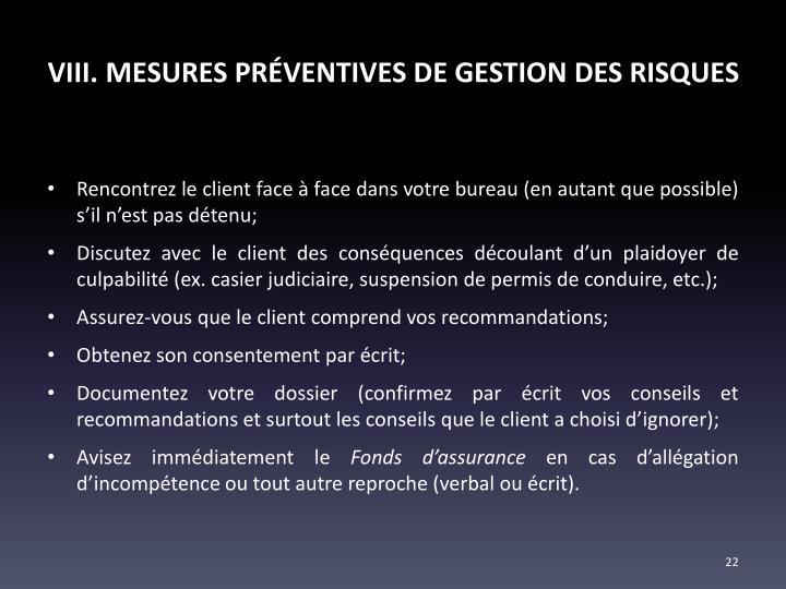 VIII. MESURES PRÉVENTIVES DE GESTION DES RISQUES