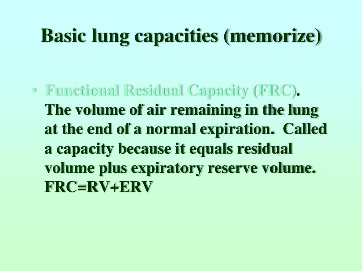 Basic lung capacities (memorize)