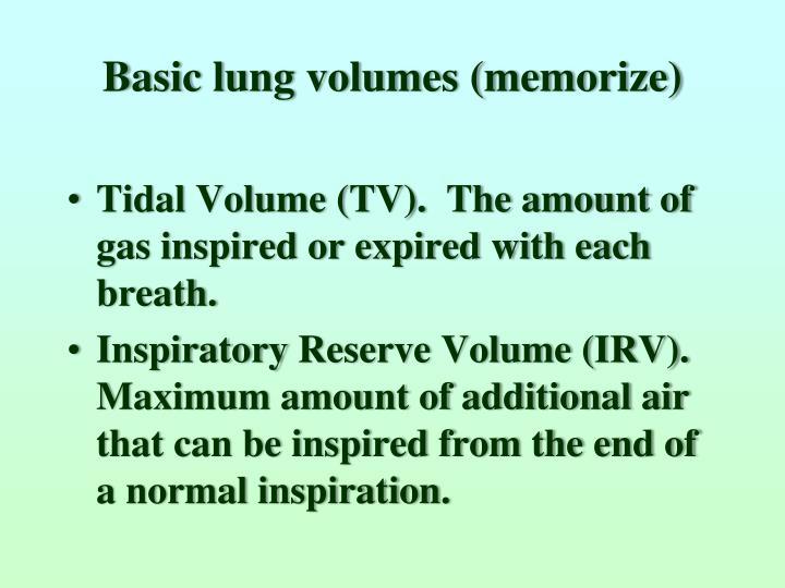 Basic lung volumes (memorize)