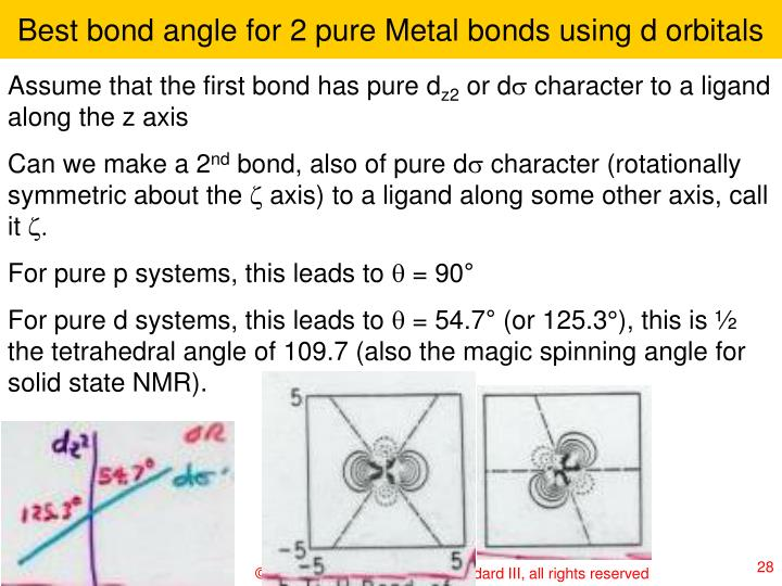 Best bond angle for 2 pure Metal bonds using d orbitals