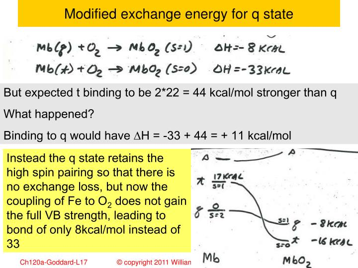 Modified exchange energy for q state