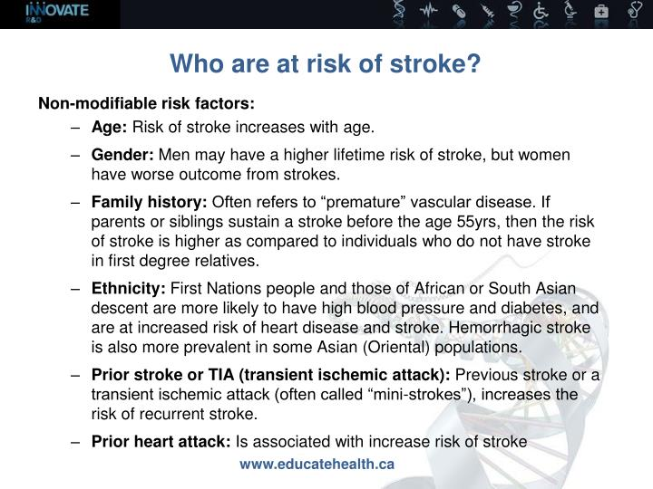 Who are at risk of stroke?