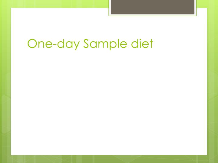 One-day Sample diet