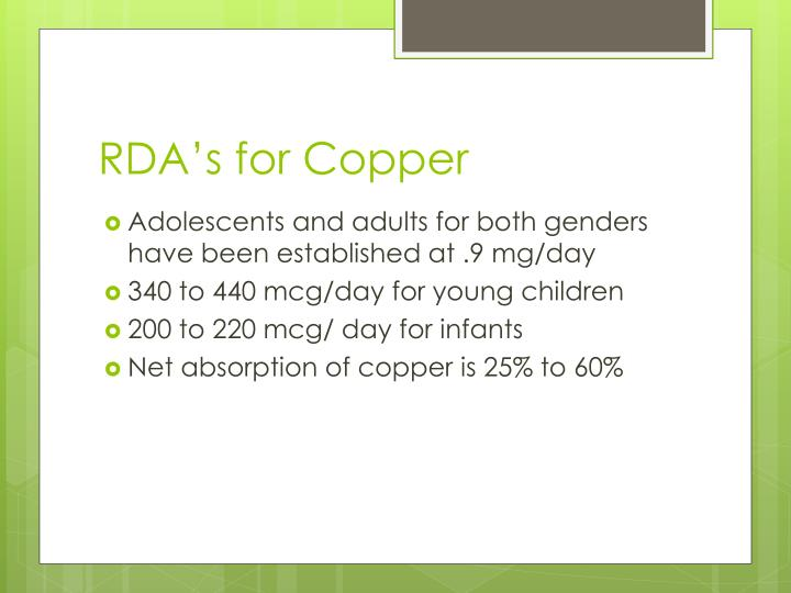 RDA's for Copper