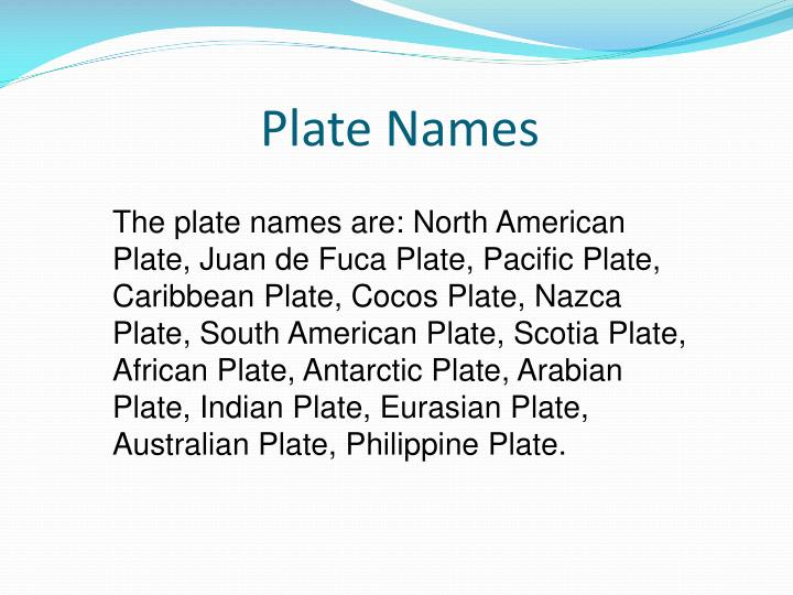 Plate Names