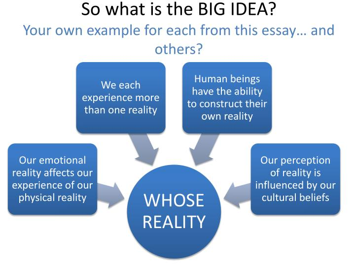So what is the BIG IDEA?