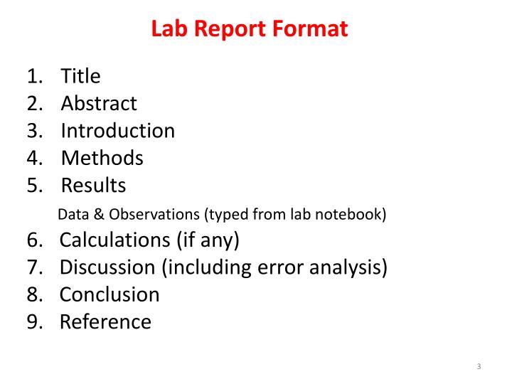 Lab Report Format