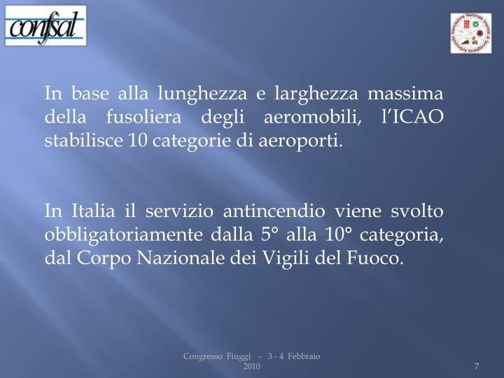 In base alla lunghezza e larghezza massima della fusoliera degli aeromobili, l'ICAO stabilisce 10 categorie di aeroporti.