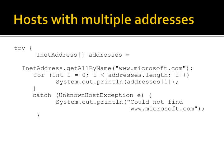 Hosts with multiple addresses