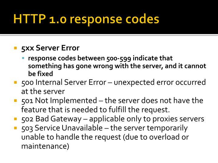 HTTP 1.0 response codes