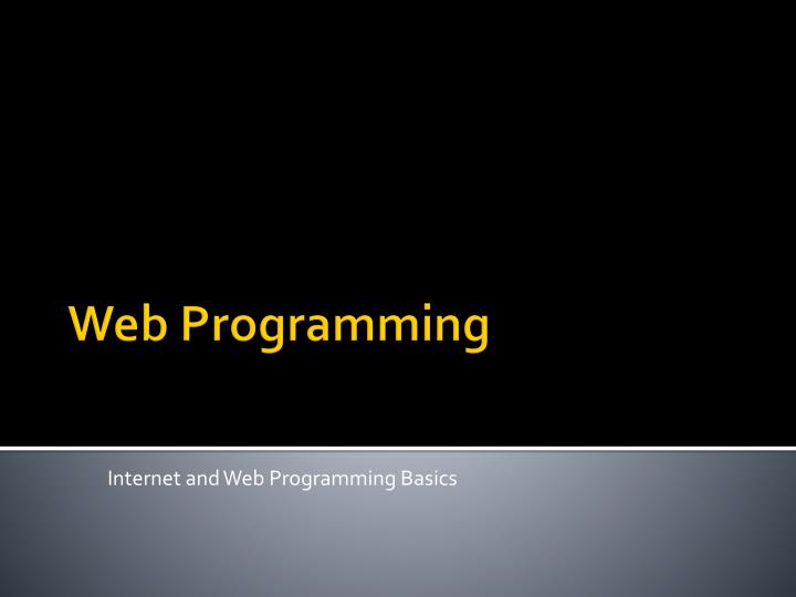 Internet and web programming basics