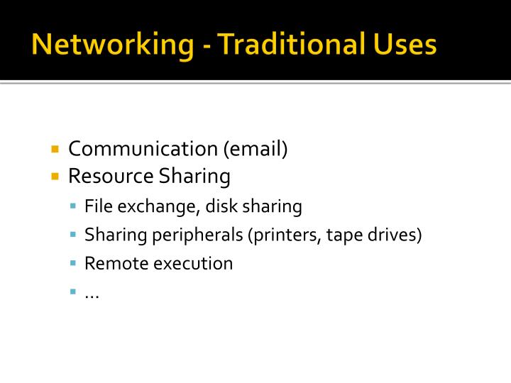 Networking - Traditional Uses