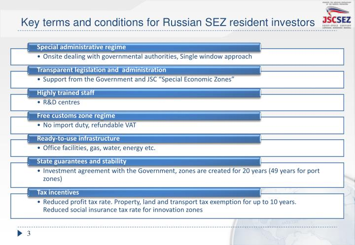 Key terms and conditions for russian sez resident investors