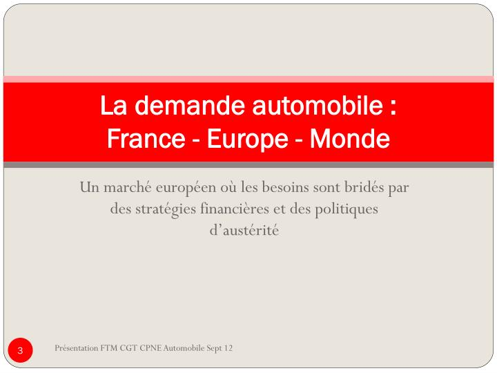 La demande automobile france europe monde