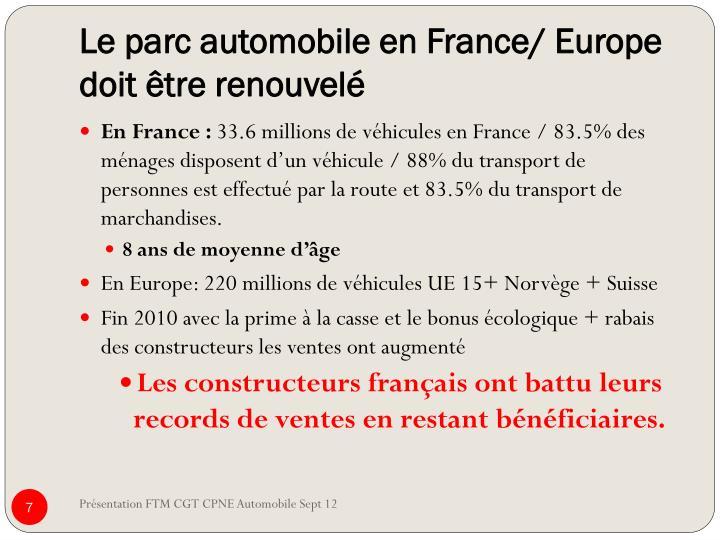 Le parc automobile en France/ Europe doit être renouvelé
