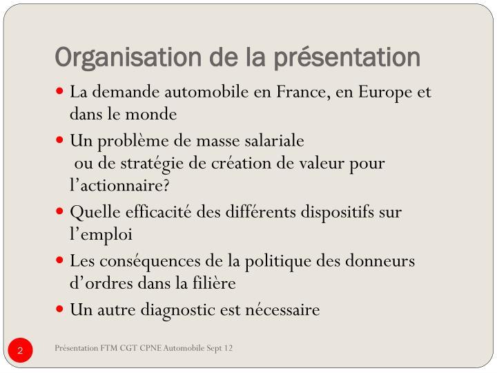 Organisation de la présentation